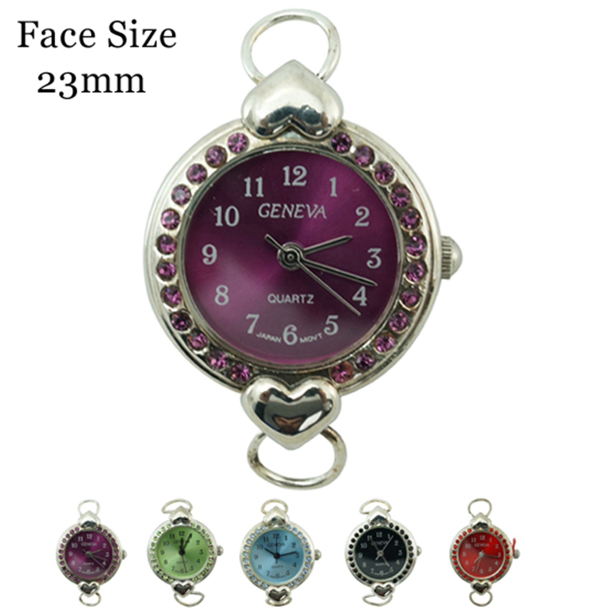 Women's CZ 23mm Dial with Colored Stone Border face