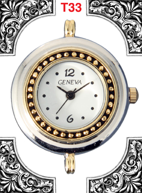 Geneva 20mm circle Two tone beading watch faces