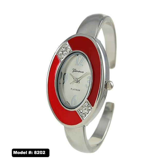 Geneva 30mm White Dial with red Border and Silver Color cuff Style Stainless Steal Band
