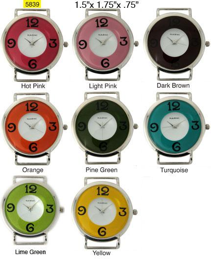 Double Dial Solid Bar Ribbon Watch Face