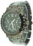 Ladies Designer Round Submariner Dial Chrono Style Fashion Watch - Gun Metal