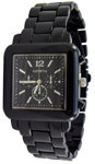 Designer Chrono Style Metal Bracelet Watch Square - Black