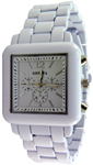 Designer Chrono Style Metal Bracelet Watch Square - White