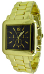 Designer Chrono Style Metal Bracelet Watch Square - Black/Gold