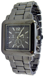 Designer Chrono Style Metal Bracelet Watch Square - Gun Metal