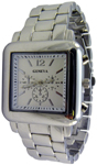 Designer Chrono Style Metal Bracelet Watch Square - Silver