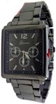 Designer Chrono Style Metal Bracelet Watch Rectangular - Gun Metal