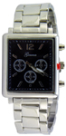Designer Chrono Style Metal Bracelet Watch Rectangular - Black/Silver