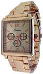 Designer Chrono Style Metal Bracelet Watch Rectangular - Rose Gold