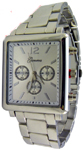 Designer Chrono Style Metal Bracelet Watch Rectangular - Silver