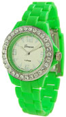 Designer Ladies CZ Plastic Band Fashion Watch - Light Green