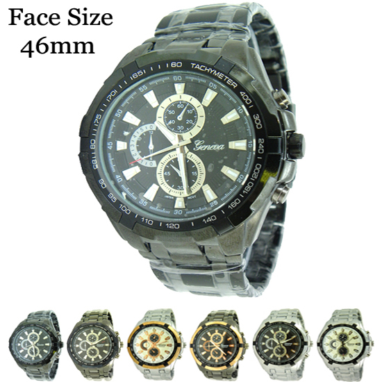 Men's Geneva Platinum Designer Style Waterproof Watch 46mm