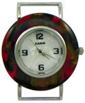 Turtle Shell Solid Bar Watch Face - Burgundy