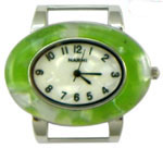 Turtle Shell Oval Solid Bar Watch Face - Lime