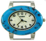 Turtle Shell Oval Solid Bar Watch Face - Turquoise