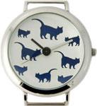 Cat Print Solid Bar Ribbon Watch Face - Navy Blue