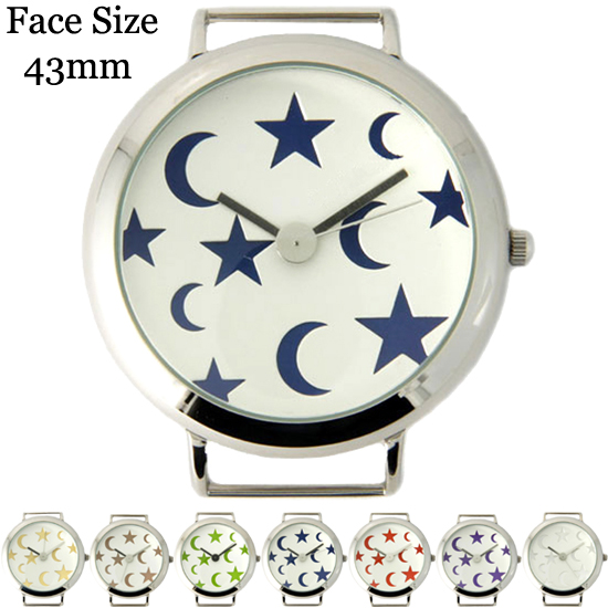 Moon and Star Print Solid Bar Ribbon Watch Face 43mm