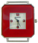 Colored Cut Glass Solid Bar Beading Watch Face - Red