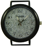 Glittery Dial Solid Bar Ribbon Watch Face - Black