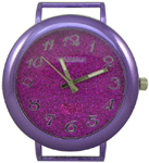 Glittery Dial Solid Bar Ribbon Watch Face - Purple