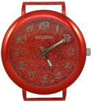 Glittery Dial Solid Bar Ribbon Watch Face - Red