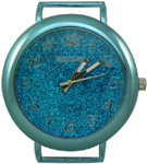 Glittery Dial Solid Bar Ribbon Watch Face - Turquoise