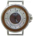 Daisy Wheel Solid Bar Ribbon Watch Face - Brown