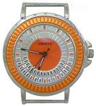 Daisy Wheel Solid Bar Ribbon Watch Face - Orange