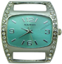 Wholesale Solid Bar CZ Ribbon Watch Face - Medium - Turquoise
