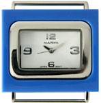 Plastic Frame Solid Bar Ribbon Watch Face - Navy Blue