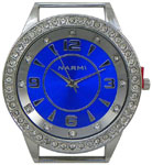 Double Dial Solid Bar CZ Ribbon Watch Face - Royal Blue