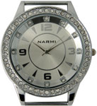 Double Dial Solid Bar CZ Ribbon Watch Face - Silver