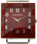 Inspirational Solid Bar Ribbon Watch Face - Red