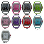 Row Rhinestone Painted Solid Bar Watch Faces
