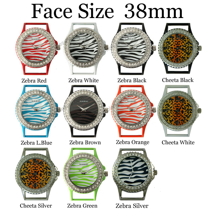 Closeout - Solid Bar CZ Ribbon Watch Faces 38mm